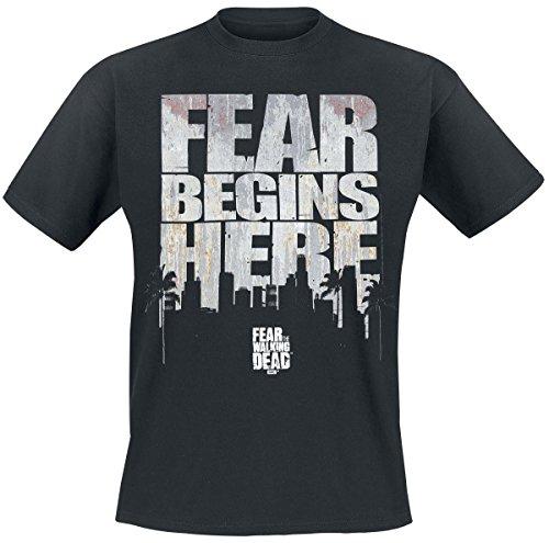 Fear The Walking Dead Fear Begins Here Camiseta, Negro (Black),...