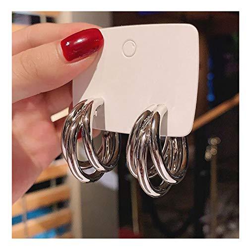 LICAILONGJIN7 Earings Temperamento Coreano Pendientes geométricos Femeninos de Plata esterlina Nueva Neta de Moda Pendientes Rojos de Viento frío de Gama Alta joyería Aretes (Color : A)