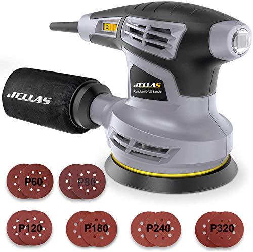 Ponceuse Orbitale Jellas, Ponceuse à vitesse variable 13000 tr/min, Comprend 18 recharges de ponçage, Tampon de ponçage rotatif à 360 °, Sac de collecte de poussière, 280W - OS02