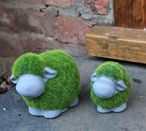 HH Home Hut Grass Grassy Green Garden Ornament Pair of Sheep Lamb & Mum