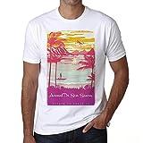 Arenal De Son Saura, Escapar al paraíso, Camiseta para Las Hombres, Manga Corta, Cuello Redondo, Blanco