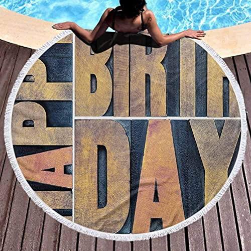 Manta de Playa Tapiz de cumpleaños Esterilla de Yoga Borlas Círculo Tipografía Tipo de Madera Bloques de impresión Rectángulos Tipografía Impresión artística para Uso Suave y a Prueba de decoloración