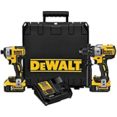 """Hammer drill: DCD996 Hammer drill features includes 3-speed levels, high performance (0-2,000 rpm), an all-metal transmission Impact driver: DCF887 20 volt max 1/4"""" impact driver provides 1,825 in-pounds of max torque at fast 0-3,250 RPM speed and 0-..."""