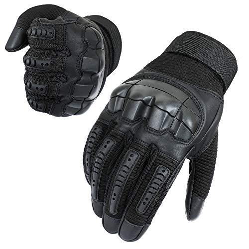 Neusky Herren Taktische Handschuhe Touchscreen Fahrrad Handschuhe Motorradhandschuhe MTB Handschuhe Mountainbike Handschuhe Outdoor Sport Handschuhe Ideal für Airsoft, Militär, Paintball (L,Schwarz)