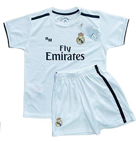 Kit Infantil Real Madrid Réplica Oficial Licenciado de la 1ª Equipación Temporada 2018-19 Sin Dorsal.