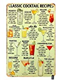HOSNYE Classic Cocktail Recipes Tin Sign Kinds of Beer Wine Drink List Poster Vintage Metal Tin Signs for Men Women Wall Art Decor for Home Bars Clubs Cafes 8x12 Inch