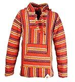 Funny Guy Mugs Premium Baja Hoodie Sweatshirt Pullover Jerga Poncho (Fire Dancer, Small)