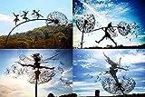 Garten-Silhouettenpfähle, Feen Und LöWenzahn Tanzen Zusammen Skulpturen, LöWenzahn-Fee Skulptur, Feengarten Löwenzahnstatue, Miniatur-Skulpturen, Löwenzahn, Fairy, Elfen, Gartendekoration (4 STÜCK)