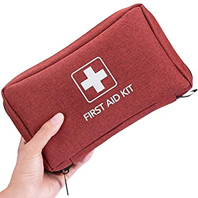 Small First Aid Kit 170 Piece - Waterproof Compact Mini Emergency Trauma Kit for Home, Travel, Camping, Hiking, Vehicle, Workplace, Backpacking, Outdoors (Red)