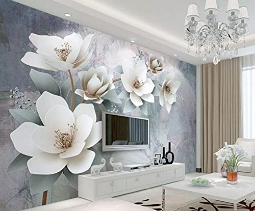 MENGRU Wallpaper Papel Pintado 3D Flor Blanca Y Minimalista Fotomurales 3D Tv Fondo Pared Dormitorio Murales Papel Tapiz Moderno 150cmX105cm
