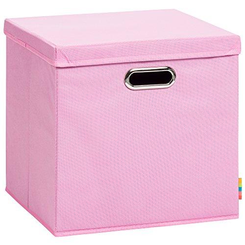 Storanda) Aufbewahrungsbox LEA mit Deckel - Faltbox - Korb - 33x33x33 cm - (Rosa)