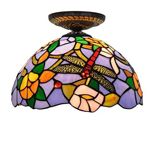 12 Inch plafond lichtpunt met 1 Light, Tiffany Style antieke koperen inbouw plafondlamp Middellandse Dragonfly Shade voor Gang Dining Slaapkamer Keuken Lights E27, 110V-240V, 40W,B