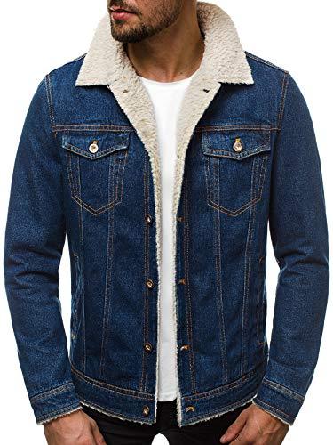 OZONEE heren jeansjack jeans overgangsjack herfstjack vintage herenjack herfst overgang denim bikerjack denim winter knoopsluiting JB/JP1109
