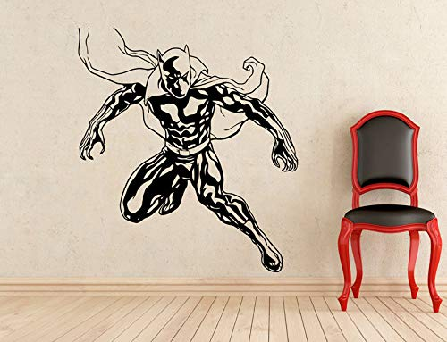 HNXDP Held Black Panther Wandtattoo Vinyl Mode Applique Home Indoor Wandbild Junge Zimmer Art Deco CJY27 57x63cm