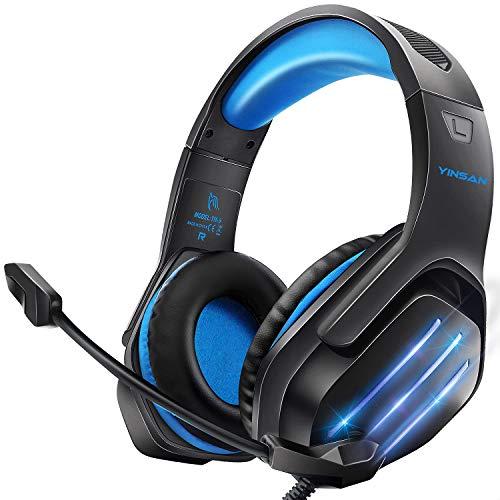 Cascos Auriculares, Auriculares Gaming Premium Stereo con Microfono para PS4 PC Xbox One, Cascos Gaming con Luz LED y Control Volumen, Diadema Acolchada y Ajustable, Micrófono Flexible