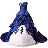 Zorayi abito da donna con ricamo TAFT Capo Treno Formelle Abito da ballo, abito da sposa, abito da sposa Avorio e blu. 40