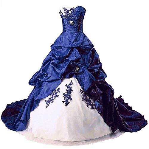 Zorayi Damen Liebsten Stickerei TAFT Kapelle Zug Formellen Ballkleid Brautkleider Hochzeitskleider Elfenbein & Blau Größe 46