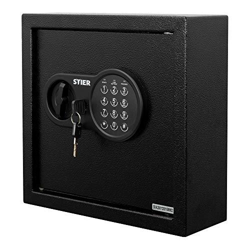 STIER Schlüsseltresor, Elektronikschloss, für 30 Schlüssel, 280x300x100 mm, pulverbeschichtet, mit Schlüsseltags