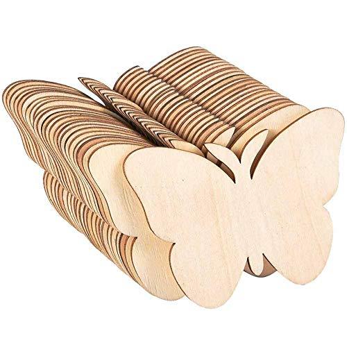 Madera sin terminar, 50 piezas de madera en forma de mariposa, adornos de madera, rebanadas de madera para proyectos de manualidades, etiquetas de regalo, decoración del hogar, 8 cm