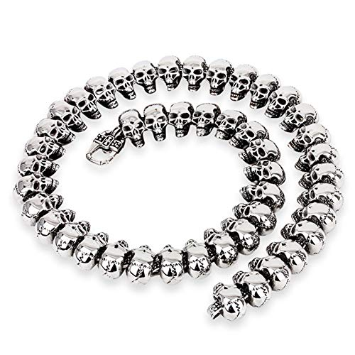 HXML Halloween-Party-Geschenk, Gotik 24mm Schädel-Skeleton Halskette Männer, 316L Edelstahl Curb...