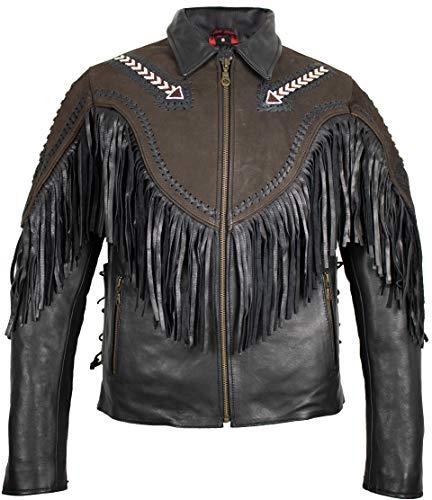 MDM Fransen Indianer Motorrad Lederjacke in schwarz, braun (XL)