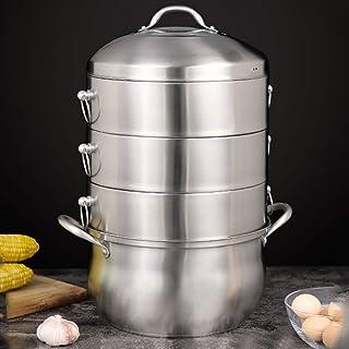Vaporizador/Olla de Sopa de Acero Inoxidable 304 Hogar/Comercial de 4 Capas con vaporizador de 30 cm de Espesor Adecuado para Estufa de Gas/Cocina de inducción Adecuado para 5-9 Personas
