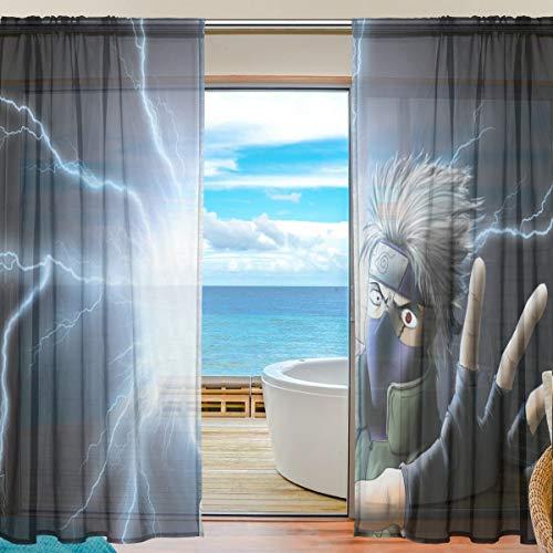 Socira - Cortinas de tul con diseño de dibujos animados de Naruto Hatake Kakashi, para ventana de sala de estar, recámara, cocina, ventana, 1, 55 x 84 Inch