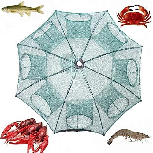 N\A Pesca Kit de Accesorios Camarones Jaula de los Pescados del Cangrejo de Trampa Red echada 38' 8 Agujeros de Nylon Plegable automático Red de Pesca