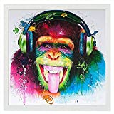 DIY lienzo digital pintura al óleo regalo escuchando música animales para adultos niños coloridos prensa kit digital hogar pared 40x50 con marco