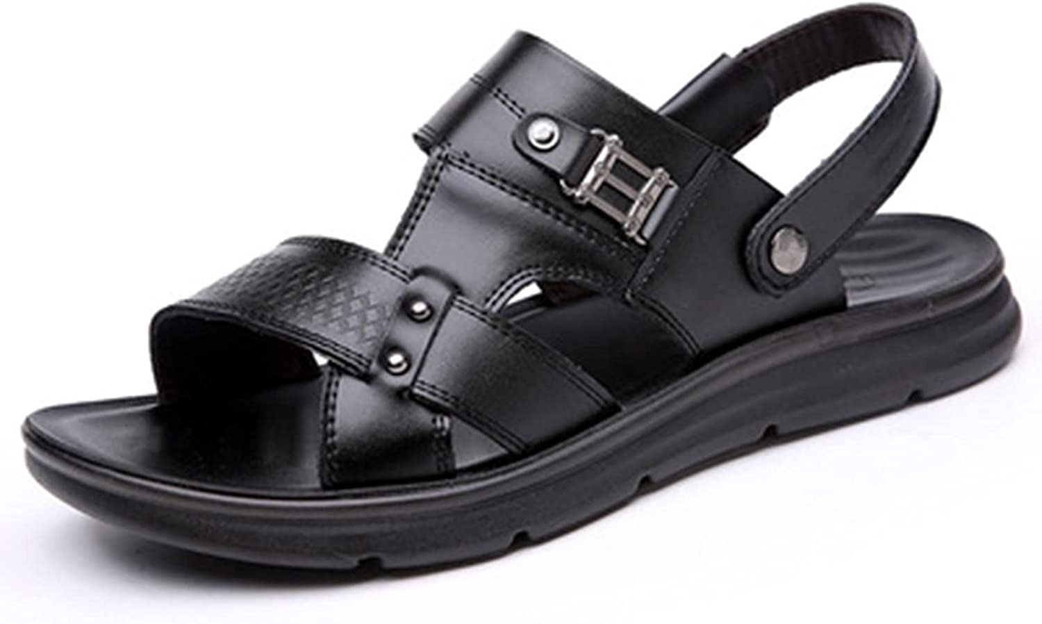 Footwear Summer Men's Sandals Outdoor Athletic Hiking flip Flops for Women's Fashion Elegant Open Toe Water Beach Sandals Casual Light Leather Thick Bottom Shoes (Color : Black, Size : 39)