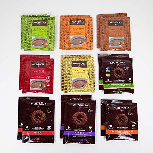 Monbana Probierset 9 Sorten je 2 Tüten (18 Tüten/Sachets) Trinkschokolade