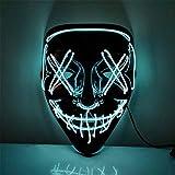 Máscara de Halloween LED de miedo, máscara iluminada, para disfraz, fiesta de cosplay, fiesta intermitente resplandor en la oscuridad, máscara de miedo (10 colores se pueden seleccionar), E