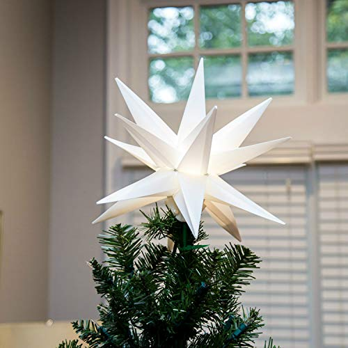 Elf Logic 12' Moravian Star Tree Topper - New 2019 Model NO Assembly Required. Beautiful Bright White 3D Lighted Christmas Star Tree Topper (12 Inch Folding, LED)