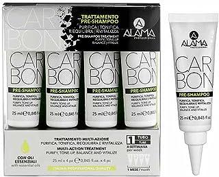 Alama Carbon - Trattamento Pre Shampoo Purificante e Riequilibrante, 4 x 25ml