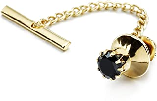 HAWSON Mens Crystal Tie Tack with Chain Gold Tie Clip Party Accessories 11 Color Options