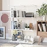 HOMEYFINE, Organizador de Cubos de Alambre (6 Cubos), estantería metálica Modular, multifunción, Bricolaje, estanterías de Almacenamiento portátiles para el salón, la Oficina,Blanco