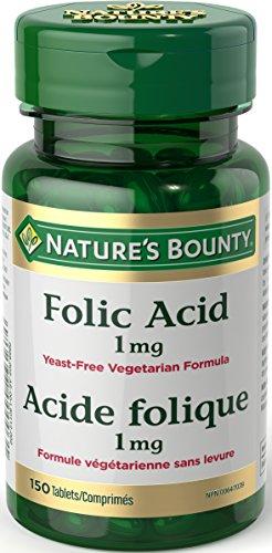 Nature's Bounty Folic Acid Supplement Yeast Free, 1mg 150 Tablets