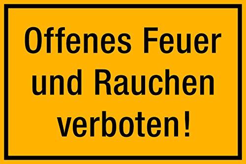 selbstklebendes(!) Schild, Offenes Feuer und Rauchen verboten, 300 x 200 mm,sehr stabil 1,5mm dick!