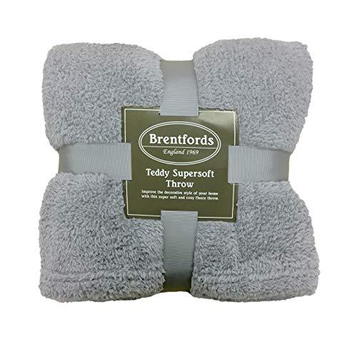 Brentfords Teddy Fleece Blanket Large Throw Over Bed Plush Super Soft Warm Sofa Bedspread, Silver Grey - 125 x 150 cm