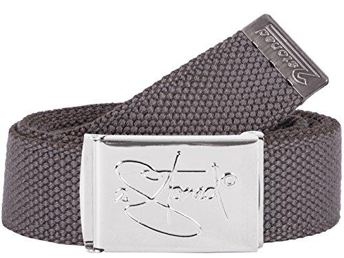 2Stoned Hosengürtel Schmal Grau, Chromschnalle Classic, 3 cm breit, Textil-Gürtel für Damen und Herren