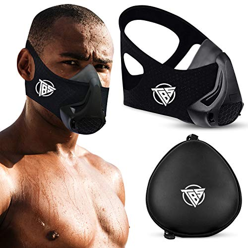 TBS Workout Masks for Men, High Altitude Elevation Training Fitness Mask with 48 Breathing Resistance Levels and Carry Case, Oxygen Deprivation Running Mask for Cardio, Gym, Workouts, and Exercises