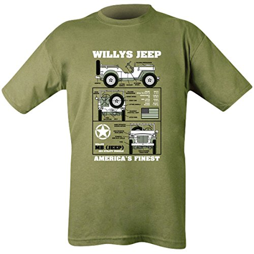 Kombat UK Willys Jeep T-Shirt Homme, Vert Olive, XX-Large