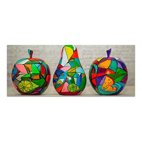DekoGlas Glasbild 'Bunte Holzfrüchte' Echtglas Bild Küche, Wandbild Flur Bilder Wohnzimmer Wanddeko, einteilig 125x50 cm