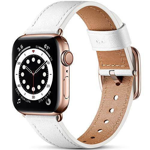 Oielai Correa de Cuero Compatible con Apple Watch Correa 38mm 40mm 42mm 44mm, Suave Genuino Cuero Reemplazo Correa para iWatch SE/Series 6 5 4 3 2 1, 38mm/40mm, Blanco
