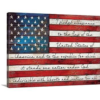Pledge of Allegiance Canvas Wall Art Print American Flag Artwork