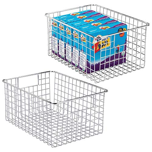 """mDesign Farmhouse Decor Metal Wire Food Storage Organizer Bin Basket with Handles - for Kitchen Cabinets, Pantry, Bathroom, Laundry Room, Closets, Garage - 12"""" x 9"""" x 6"""" - 2 Pack - Chrome"""