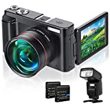 Lecran Digital Video Camera, YouTube Vlogging Camera 1080P 24MP Video Camcorder, Video Camera with 16X Digital Zoom Pause Function WiFi Face Detection 3.0 Inch Flip Screen Wide Angle Lens and Flash