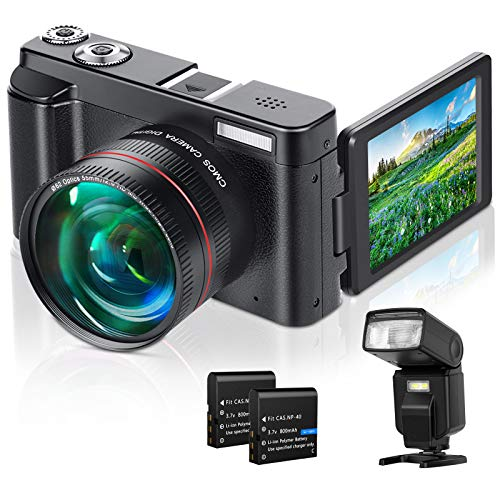 "Lecran Digital Camera, WiFi Video Camera FHD 1080P 30FPS 24MP Video Camcorder, YouTube Vlogging Camera with IR Night Vision, 2.88"" Flip Screen, Speedlite Flash and Wide Angle Lens"