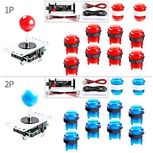 Hikig 2-Player LED Arcade DIY Kit for USB MAME PC Game DIY & Raspberry Pi Retro Controller DIY Including 2X Arcade Joystick, 20x LED Arcade Buttons, 2X Zero Delay USB Encoder Color: Red + Blue