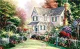 BLZQA Sin Marco - Pintar por Numeros (40 x 50 cm) Villa de Flores para Adultos Niños Pintura por Números con Pinceles y Pinturas Decoraciones para el Hogar